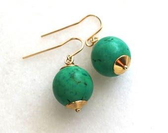 Simple Turquoise Brignolette Everyday Bauble Earring in 22kg vermeil