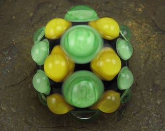 CLEARANCE Handmade Lampwork Glass Dot Focal Bead by Jason Powers SRA