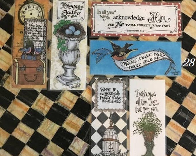 Inspirational Bookmarks-Cindy Grubb_For His Glory-#25-30- Take time, Have Faith, Proverbs 3:6, Churchill, Hokey Pokey, Shakespeare