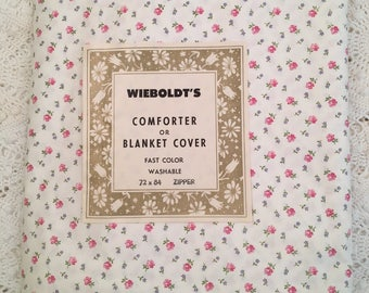 New Vintage Duvet Cover - Cotton Comforter and Blanket Cover  - New Twin Full - Tiny Pink Roses Floral - Unused NIP NOS