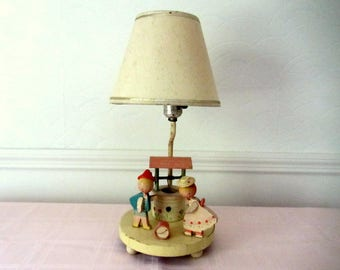 Jack And Jill Vintage Wood Lamp With Lamp Shade And Night Light
