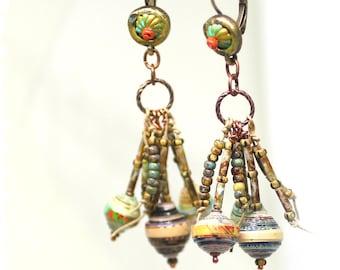 Gypsy Fringe Earrings, Beaded Cluster Earrings, Rustic Boho Earrings, Gypsy Earrings, Hippie Earrings, Tribal Earrings