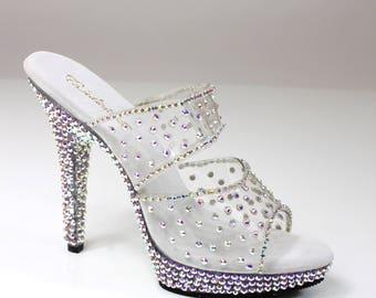 Rhinestone Encrusted Competition Heels / Bikini Figure Competition Shoes