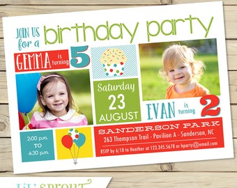 Boy Girl Sibling Birthday Invitation - Joint Birthday Photo Invite- Shared birthday - Brother Sister - Print Your Own Invitations