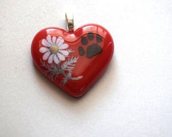 Red Fused Glass Heart Pendant With Permanent Daisy Decal On a Siler Chain