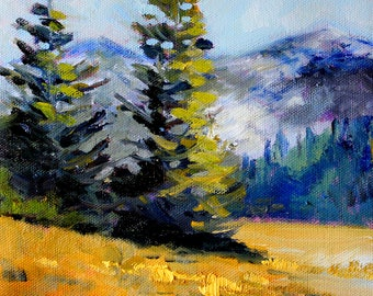 Olympic Range, Landscape Oil Painting, Original 8x8 Canvas, Washington State, Mountains, Blue Gold, Evergreen Trees, Northwest, Wall Decor