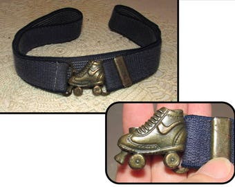 Vintage Small Blue Stretch Belt with Roller Skate Buckle, 60s, sneaker