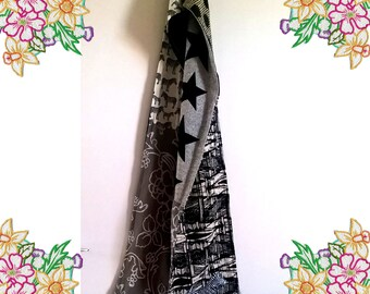 Long Patchwork Scarf. Black White Grey with Zebra Applique. Unique one of a kind. Upcycled and Vintage Fabrics.