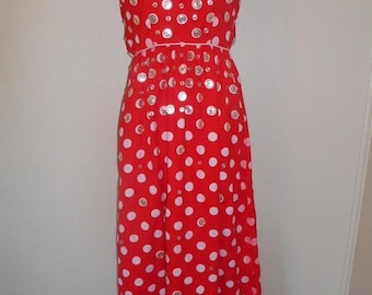 SALE 25% off SALE Vintage 60's 70's   red white   button polka dot  long dress