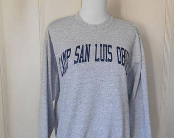 Closing Shop 40%off SALE 80's 90's Vintage sweatshirt Camp San Luis Obispo Slo            grey gray