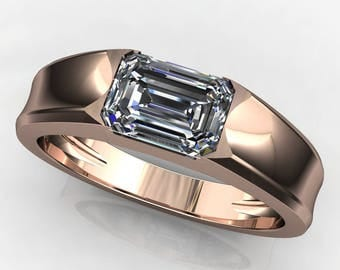 Private Listing for Wonder Woman - cash ring - men's gold wedding band, 1 carat emerald cut moissanite, payment 1 of 3
