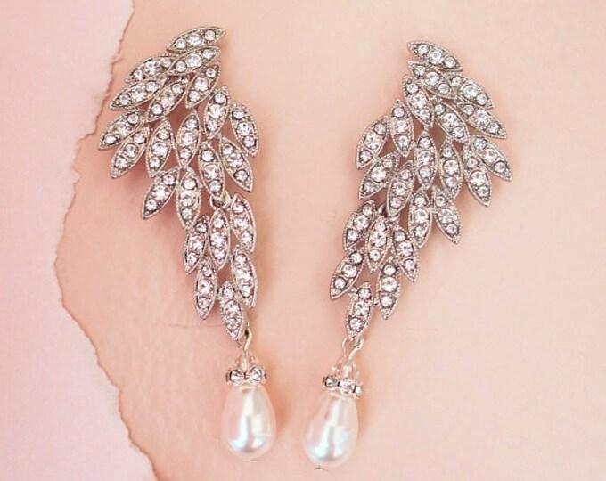 Swarovski Crystal and Pearl Bridal Earrings JAYNE