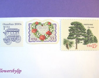 Victorian Wedding Postage, Love - Trees - Red Roses Heart Lace - Ultra Violet Stamps, Mail 20 Invitations 2 oz 71 cents unused for 2018