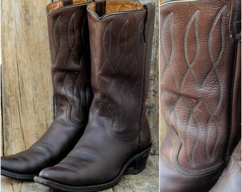 Us 10.5, Uk 10, Eu 43 44, 1960s Boots, Brown Cowboy Boots, Brown Western Boots, Pointed Toe Boots, Dancing Boots, Brown Leather Boots, USA