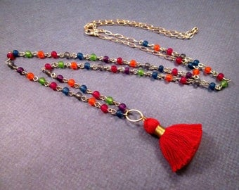 Red Cotton Tassel Necklace, Extra Long Rainbow Glass Beaded Necklace, Gold Pendant Necklace, FREE Shipping U.S.