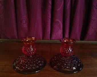 30% OFF Vintage Fenton Red Hobnail Glass Candle Holders, Pair Taper size