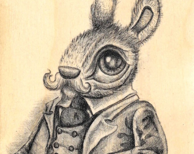 Mustache Bunny - Original drawing on wood by Mr. Hooper of Nashville, Tennessee