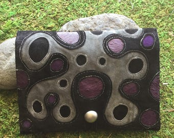Foldover Pouch in Upcycled Suede