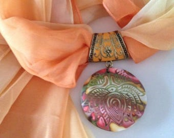 Jewelry scarf with pendant - new collection