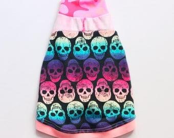 minpin COURTNEYCOURTNEY upcycled jersey tshirt outfit top italian greyhound pattern mix rainbow sugar skulls pink stripe neon glow glowing