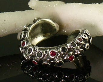 SALE SALE - Ready to Ship!  Blood and Diamonds, Tentacle Ring, Ruby, Black Diamond, Engagement ring, Wedding band, Octopus, tentacle jewelry