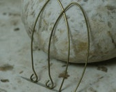 Handmade antique brass hook earwire size 35x22mm, 22g thick, 2 pcs (item ID W-009AB)