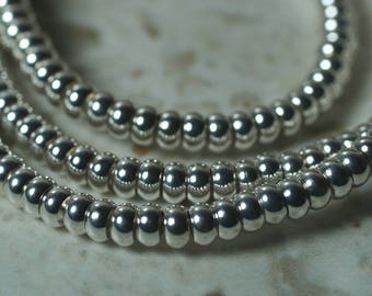 Silver tone rondelle beads 3mm in diameter 2mm thick 1mm hole, 12 pcs (item ID FA2592MB)