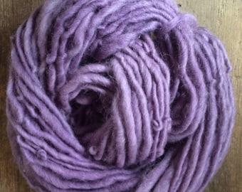 Logwood dyed, handspun naturally dyed local wool and mohair yarn, 54 yards single ply bulky weight, purple handspun yarn