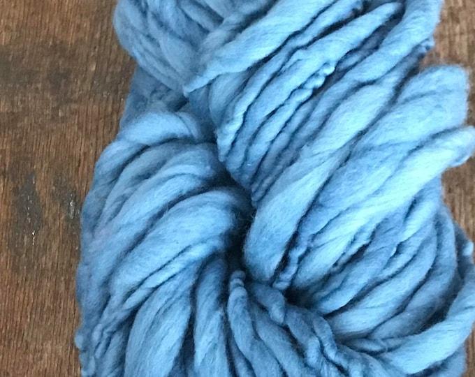 Indigo dyed, medium blue handspun luxury yarn, 50 yards, chunky weight handspun, plant dyed, indigo blue yarn, botanical dyes, super soft