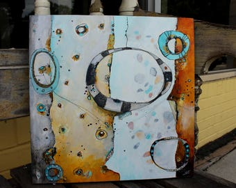 The Gorge  12 x 12  Abstract Zen Painting original art in yellow,teal, gray by Jodi Ohl