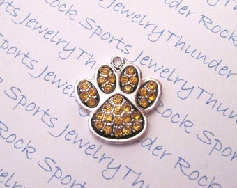 PAW CHARM, Antique Silver, gold crystals, paw prints, PENDANTS, Sports, animals, cats, dogs, bears, pets, sports mascots