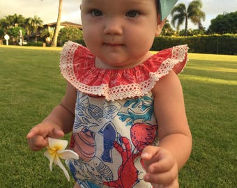 Sea Life Bubble Romper for Baby Girls