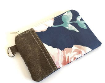 Change Purse No. 1 in Blue Roses and Waxed Canvas