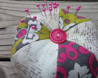 Beautiful large Handmade Pincushions classic round with Pins