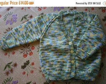 SUMMER SALE Hand Knitted Random Effect Cardigan to fit 6 - 12 Month Baby