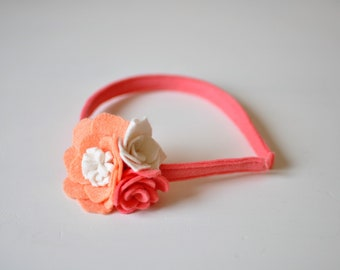 Felt Flower Headband - Pink Coral and White - Girl's Headband- Easter Headband - Spring Accessory