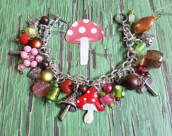 Fairy Tale Garden Charm Bracelet, Jewelry, Bracelet, Toadstool, Garden, Strawberry, Spring, Summer, Woodland, Forest, Chunky, Handmade OOAK