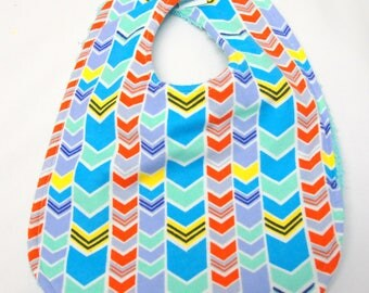 Baby Girl Bib, Baby Shower Gift, Welcome Baby Gift, New Mom Gift: Teal and Orange Chevrons