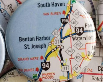 Benton harbor, St. Joseph,  Michigan map magnet