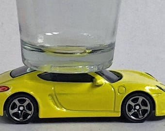 The ORIGINAL Hot Shot, Classic Hot Rods, Shot Glass, Porsche Cayman, Matchbox car