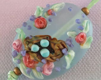 Lampwork Etched Spring Nest Garden Beads
