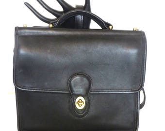 Vintage Black Leather Coach Look alike Satchel Cross Body Purse