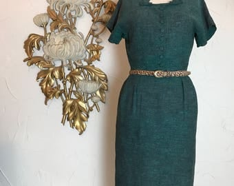 1950s dress green dress hourglass dress size medium 27 waist wiggle dress flecked dress mad men dress