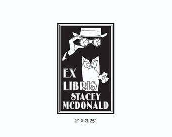 Xmas in July Art Deco Tuxedo and Bow Tie Opera Glasses Steampunk Binoculars Black and White Custom Ex Libris Library Stamp Rubber Stamp N21