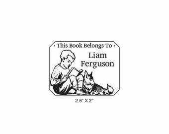 Xmas in July A Boy and his Dog Reading Ex Libris Bookplate Rubber Stamp O16