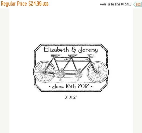 Super Summer Sale Tandem Bicycle Distressed Antique Frame Custom Wedding Save the Date Rubber Stamp AD224