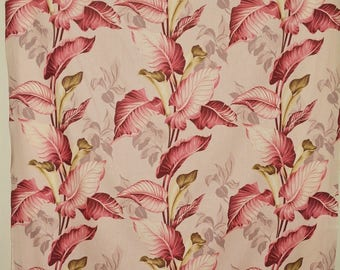 FABRIC VINTAGE 1940s repro tropical fabric Calla lily drapery fabric apparel width
