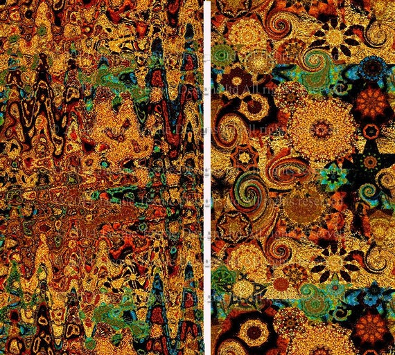Textile Artist Fabric 2 Large Panels Golden Fall Kaleidoscope Fiber Art Quilting