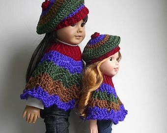 "Autumn Harvest Poncho and Beret Set in Fall Colors Handmade and Crocheted to fit 14""  Wellie Wishers and and 18"" American Girl Dolls"