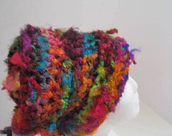 "EARLY FALL SALE multi colored hat sari scrap hat wild hat crocheted hat handmade hat upcycled fabric hat ""savauge"""